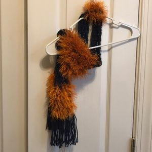 Accessories - Navy and orange skinny scarf